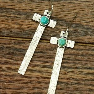 NWT - Natural Turquoise Metal Cross Earrings